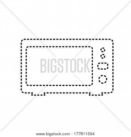 Microwave sign illustration. Vector. Black dashed icon on white background. Isolated.