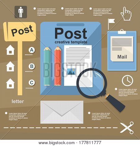 Illustration mail letter infographic on flat design