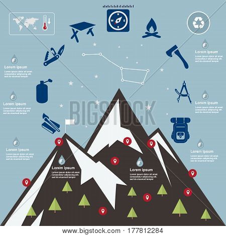 Illustration mountains camping-travel elements on flat design