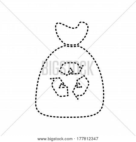 Trash bag icon. Vector. Black dashed icon on white background. Isolated.