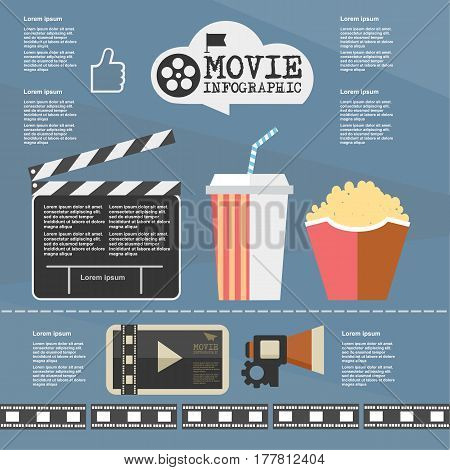 Illustration Movie Infographic On Flat Design