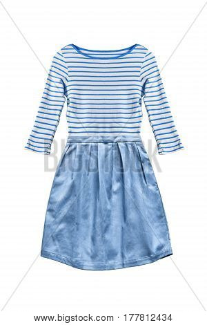 Blue sailor styled mini dress isolated over white
