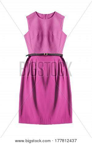 Elegant pink dress with leather belt on white background