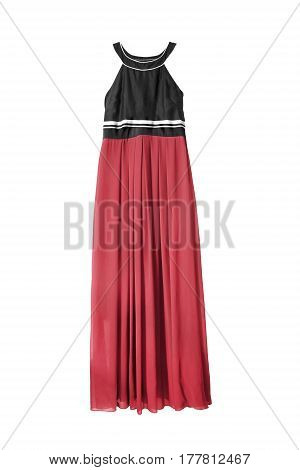 Long dress with red chiffon skirt isolated over white
