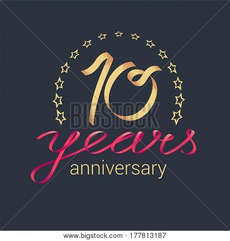 10 years anniversary vector icon logo. Graphic design element with golden realistic ribbon curls for decoration for 10th anniversary