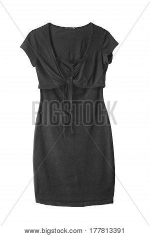 Black basic dress combined with a jacket on white background