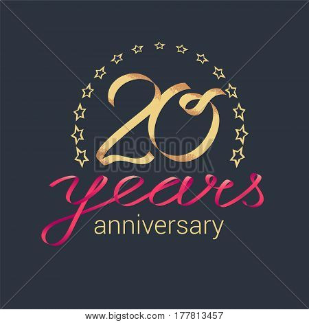 20 years anniversary vector icon logo. Graphic design element with golden realistic ribbon curls for decoration for 20th anniversary