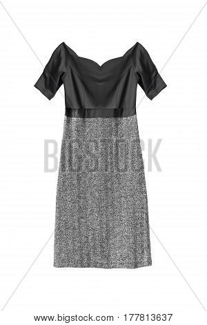 Elegant combined dress with tweed skirt isolated over white