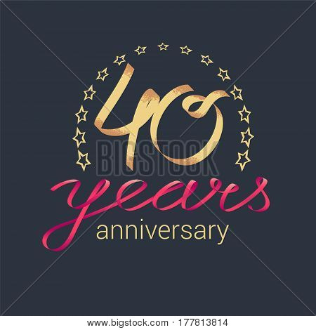 40 years anniversary vector icon logo. Graphic design element with golden realistic ribbon curls for decoration for 40th anniversary