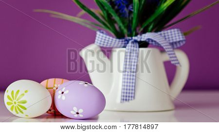Easter Card, Spring Decoration With Blue Flowers And Eggs.