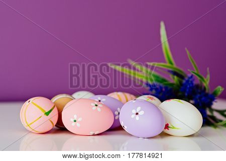 Easter Card, Spring Decoration With Blue Flowers And Eggs