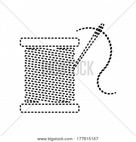 Thread with needle sign illustration. Vector. Black dashed icon on white background. Isolated.
