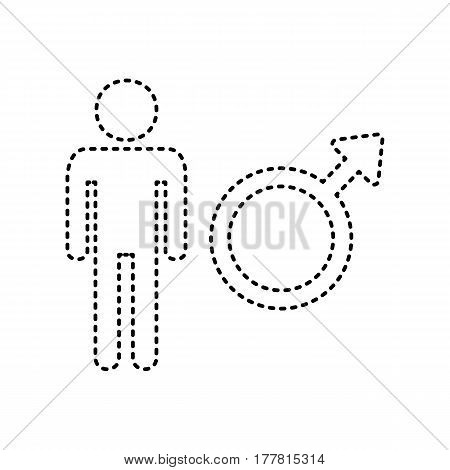 Male sign illustration. Vector. Black dashed icon on white background. Isolated.
