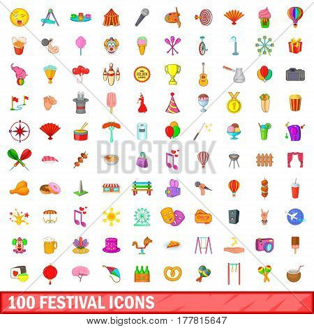 100 festival icons set in cartoon style for any design vector illustration