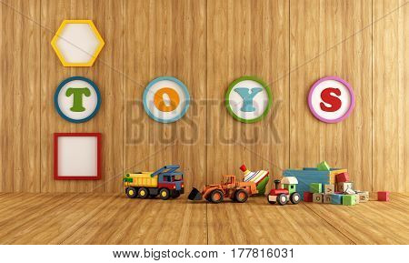 Wooden Playroom With Toys