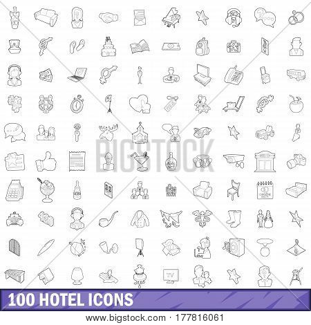 100 hotel icons set in outline style for any design vector illustration