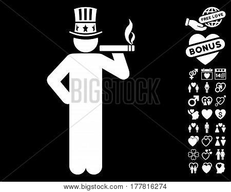 Capitalist pictograph with bonus dating graphic icons. Vector illustration style is flat iconic white symbols on black background.