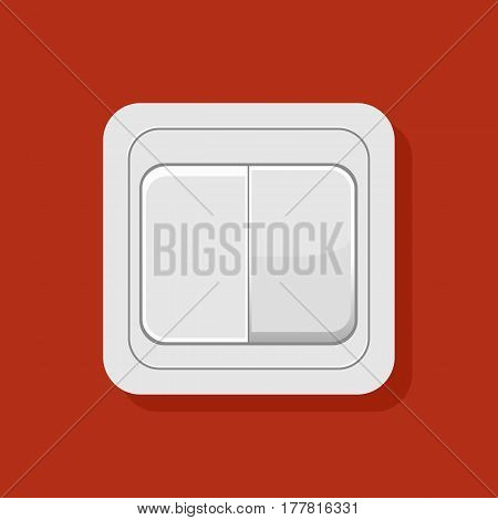 Illustration Of Realistic Light Switch On Red Background