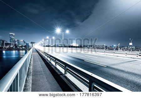 traffic on bridge at night in seoul