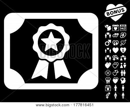 Certificate icon with bonus decoration symbols. Vector illustration style is flat iconic white symbols on black background.