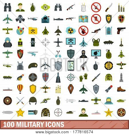 100 military icons set in flat style for any design vector illustration