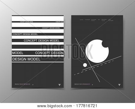 Abstract composition. White black a4 brochure cover design. Info banner frame. Text font. Title sheet model set. Modern vector front page. Brand logo texture. Strip figures image icon. Ad flyer