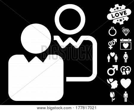 Clients icon with bonus decorative pictograph collection. Vector illustration style is flat iconic white symbols on black background.