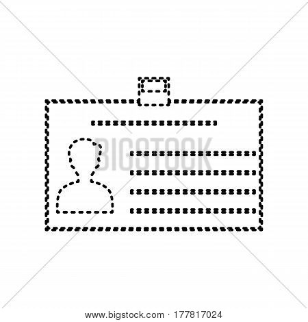 Identification card sign. Vector. Black dashed icon on white background. Isolated.