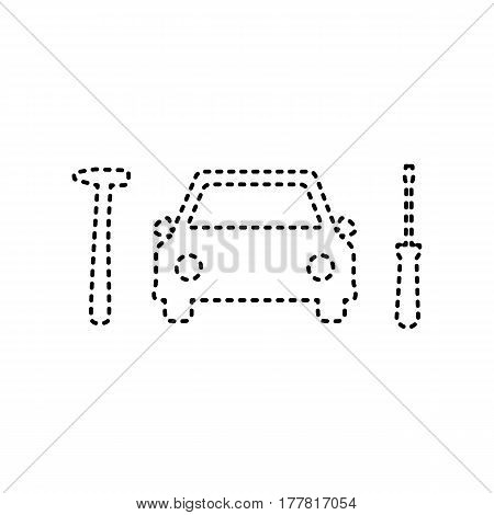 Car tire repair service sign. Vector. Black dashed icon on white background. Isolated.