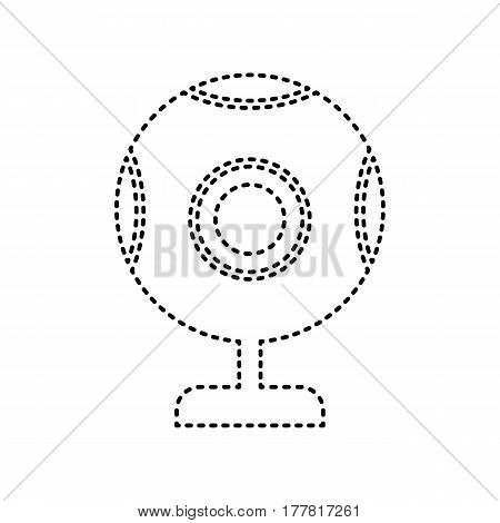Chat web camera sign. Vector. Black dashed icon on white background. Isolated.