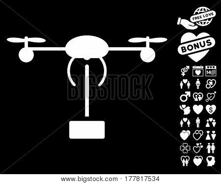Copter Shipment pictograph with bonus marriage images. Vector illustration style is flat iconic white symbols on black background.