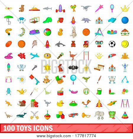100 toys icons set in cartoon style for any design vector illustration