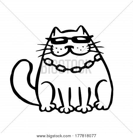 Bandit cat in black glasses. Funny cartoon cool character. Contour freehand digital drawing cute cat. White color background. Cheerful pet for web icons and shirt. Isolated vector illustration.