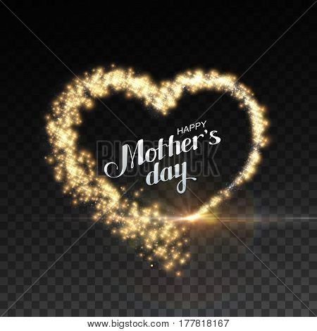 Happy Mothers Day. Glowing stream of sparkles and lens flare light effect. Holiday vector illustration of shiny heart path isolated on checkered transparent background. Decoration element