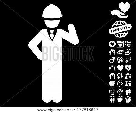 Engineer icon with bonus dating graphic icons. Vector illustration style is flat iconic white symbols on black background.