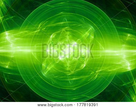 Green glowing fusion in space plasma force field computer generated abstract background 3D rendering