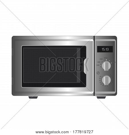 Illustration Realistic Silver Microwave On White Background