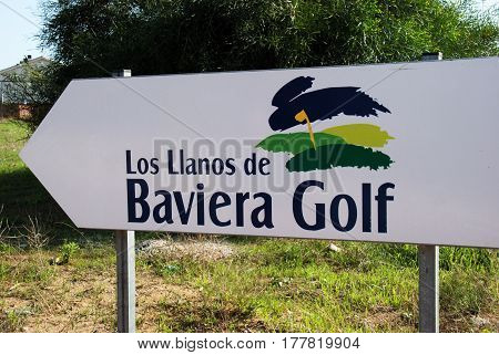 CALETA DE VELEZ, SPAIN - OCTOBER 27, 2008 - Los Llanos de Baviera Golf club sign Caleta de Velez Malaga Province Andalusia Spain Western Europe, October 27, 2008.