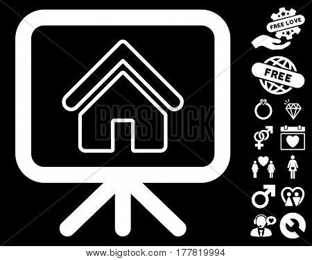 Free Gift Offer pictograph with bonus valentine design elements. Vector illustration style is flat iconic white symbols on black background.