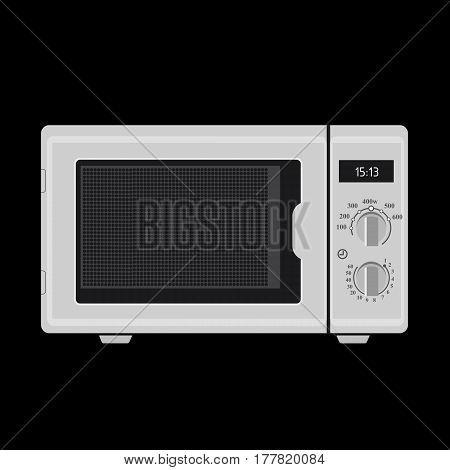 Illustration Realistic White Microwave On Black Background