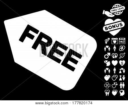 Free Sticker icon with bonus romantic pictograph collection. Vector illustration style is flat iconic white symbols on black background.