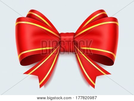 Realistic red bow isolated on white background. Vector illusatraion