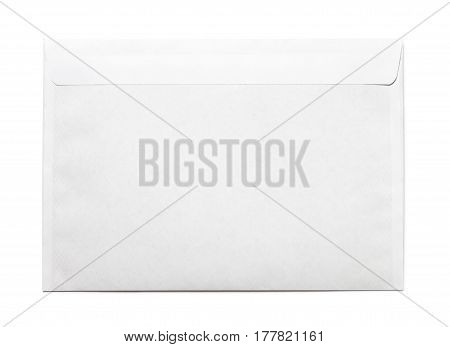 Simple blank white envelope isolated, rear view