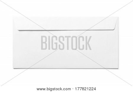 Simple blank white envelope isolated, back view
