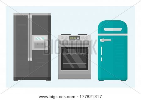 Home appliances kitchen equipment domestic electric tool technology household laundry and cleaning group machine interior electric vector illustration. Modern shop contemporary flat style object.