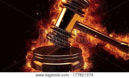 judge gavel fire flames explosion burning explode hot