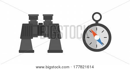 Binoculars with lens isolated compass on white background vision hunting military instrument science space discovery instrument vector illustration. Discovery equipment optical zoom.