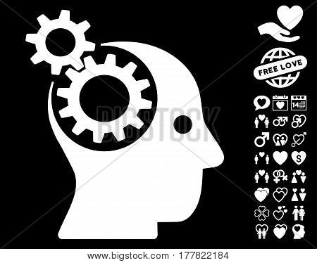 Intellect Gears icon with bonus decoration graphic icons. Vector illustration style is flat iconic white symbols on black background.