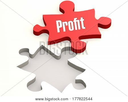 Red Jigsaw Puzzle With Profit Word