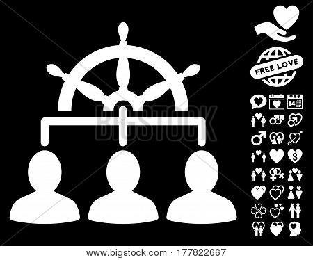 Management Steering Wheel pictograph with bonus marriage icon set. Vector illustration style is flat iconic white symbols on black background.